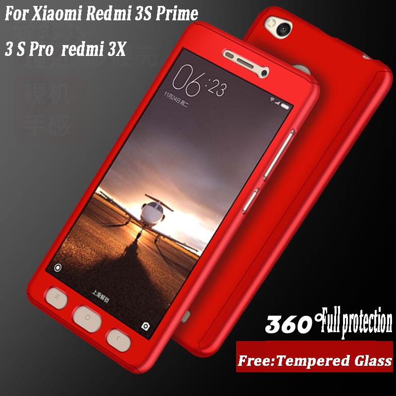 Xiaomi Redmi 3S Luxury 360 Degree Protection Mobile Phone Case Xiaomi Redmi 3S Prime 3 S Pro 3X Cover Coque + Tempered glass