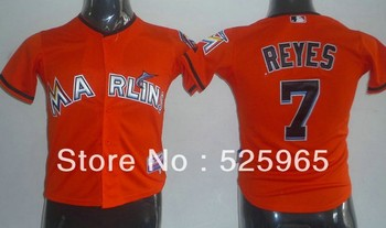 Cheap! Authentic Baseball jerseys for sale Youth Kids Florida Marlins Florida Marlins 7# REYES Orange young Jersey,free shipping