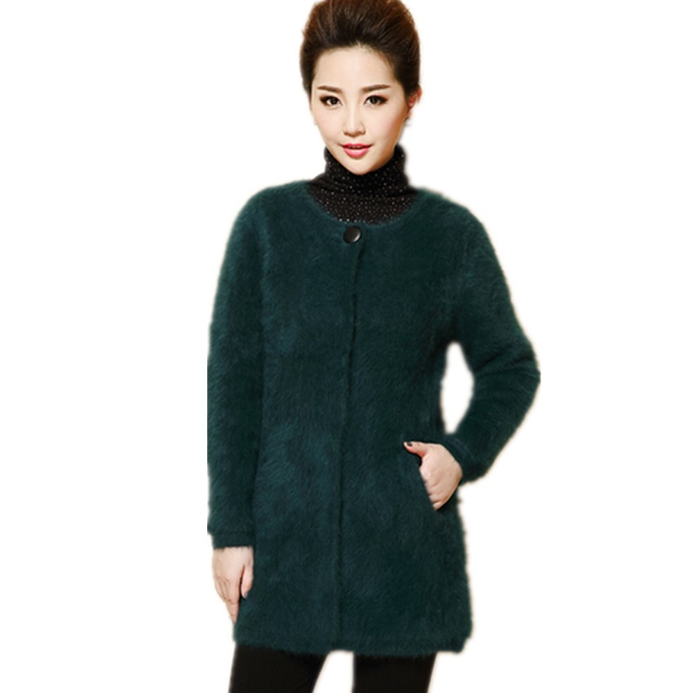 Free Shipping Middle Age Women High Quality O-Neck Medium Long Cardigans Sweater Casual Female Outerwear Mink Cashmere SweatersОдежда и ак�е��уары<br><br><br>Aliexpress