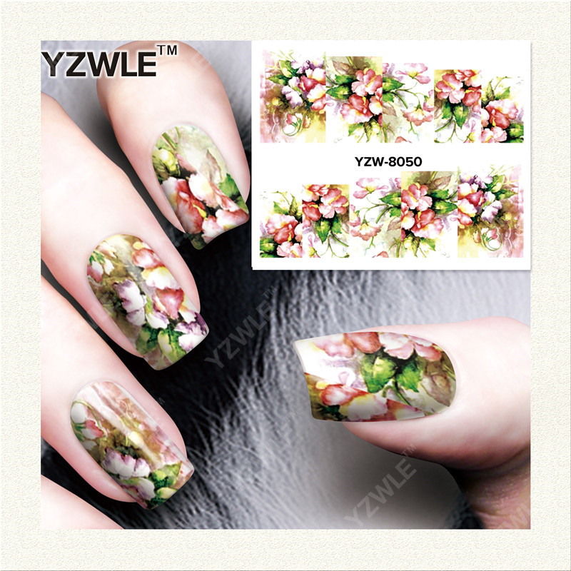 YZWLE 1 Sheet DIY Decals Nails Art Water Transfer Printing Stickers Accessories For Manicure Salon YZW-8050(China (Mainland))