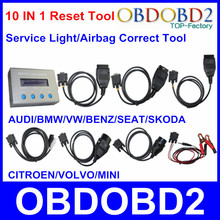 Full Set 10 IN 1 Reset Tool For Multi Brand Cars 10 In 1 Service Light Airbag Resetter Universal Oil Mileage Correction Tool(China (Mainland))