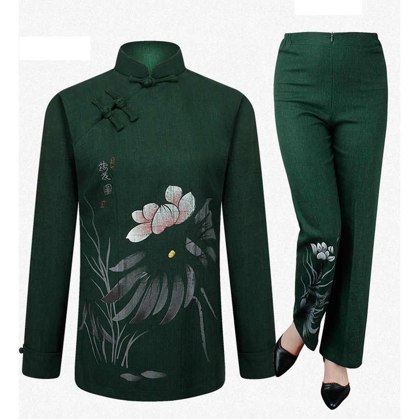 Brand New Arrival ChineseTraditional Women's Cotton Linen Hand Painted Suits Sets Coats+Pants M L XL XXL 3XL 4XL MTJ070201(China (Mainland))