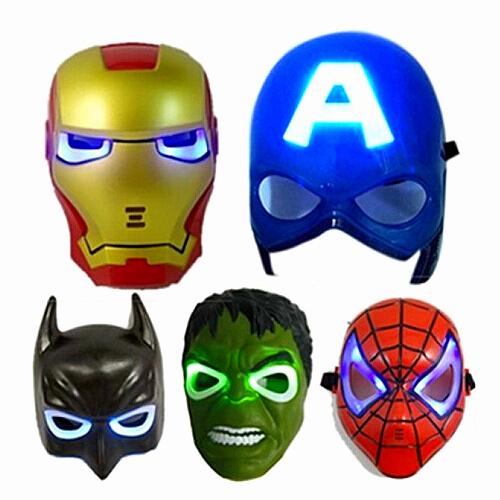 5PCS/Lot LED Glowing Lighting Mask Captain America Spiderman Hulk Iron man Batman Party Halloween Cosplay Mask(Hong Kong)