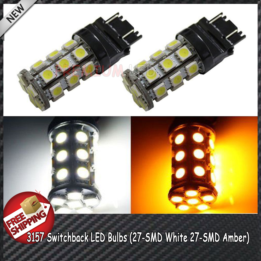 2x High Power 27-SMD-5050 Bi-Color White/Amber 3157 3357 3457 4157 Switchback LED Bulbs For Front Turn Signal Lights Lamps(China (Mainland))