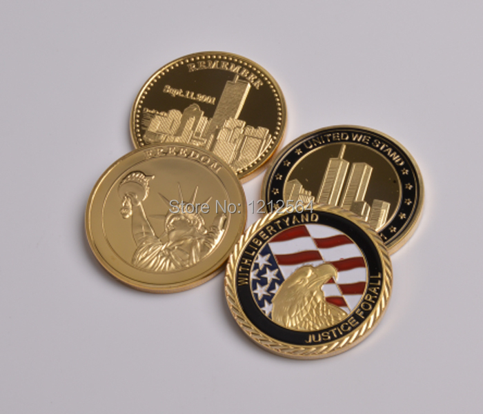 20 PCS/lot USA Freedom 911 Coins+American Eagle Coins World Trade Center Building Remember Gold Plated Souvenir Gifts(China (Mainland))