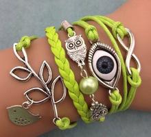 Buy Turkey bird owl evil eye Jewelry Leaf Owl Handmade Bracelet Charms Bracelet Leather Bracelet Women Men Vintage Infinite Wrap for $1.21 in AliExpress store