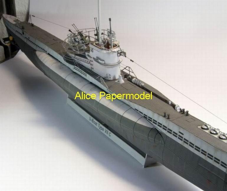 [Alice papermodel]  Longest 1.3 meter 1:00 72 48 German UBoot U-Boat Type-VII-C submarine battleship warship models