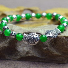 Green chrysoprase Bracelet jewelry beads 6mm vintage ancient silver fish bracelets for women 0720(China (Mainland))
