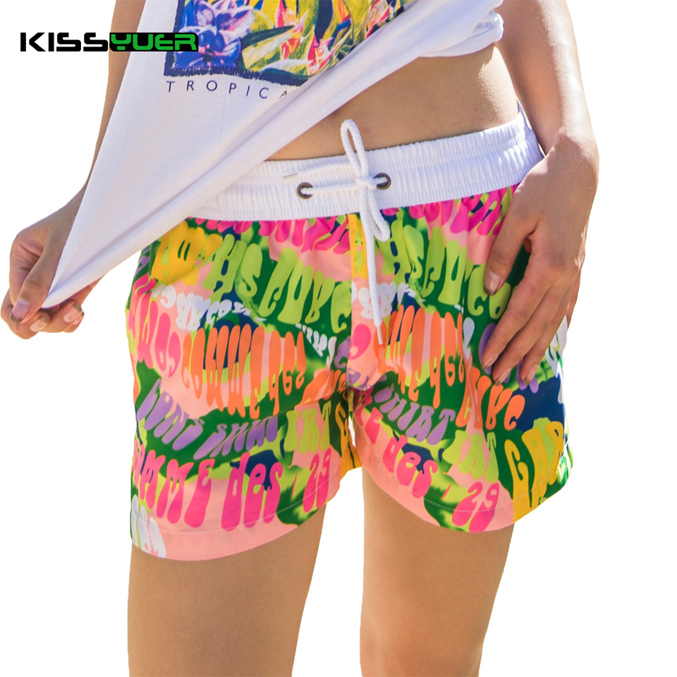 KISSyuer 2016 Summer Quick-drying Floral letters Couples swimwear Women's sport shorts Boardshorts Women board shorts KBS1001(China (Mainland))