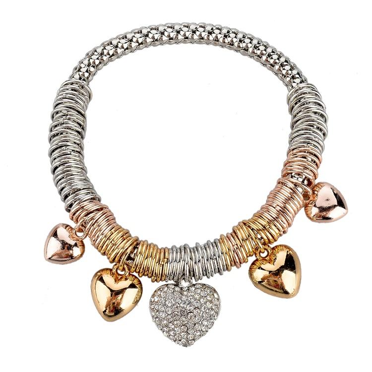 Korean Fashion Elegant Ladies Metal Chain Heart Charm Bracelet & Bangles Silver Gold Stretch Bracelet SBR140333(China (Mainland))