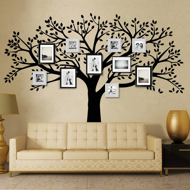 mctum brand family tree wall decals vinyl wall decal photo frame tree stickers living room home. Black Bedroom Furniture Sets. Home Design Ideas