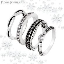 Fashion 4 Pieces Rings Sets Vintage Antique Silver Crystal Rhinestones Stackable Rings for Womens Jewelry Accessories JZ005(China (Mainland))