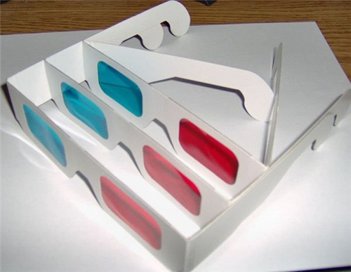 DHL Freeshipping 1000pcs Red Cyan Blue Paper 3D Glasses 3D Anaglyph White(China (Mainland))