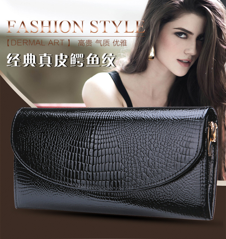 2015 new crocodile embossed pure cowhide wallet lady long design Purse genuine leather cowhide Alligator pattern clutch wallets(China (Mainland))