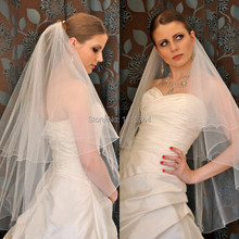 Simple Classic Silk Tulle Two Layers Finger Length White Ivory Ruched Tulle Wedding Bridal Veils 2014 Cheap Wedding Veils(China (Mainland))