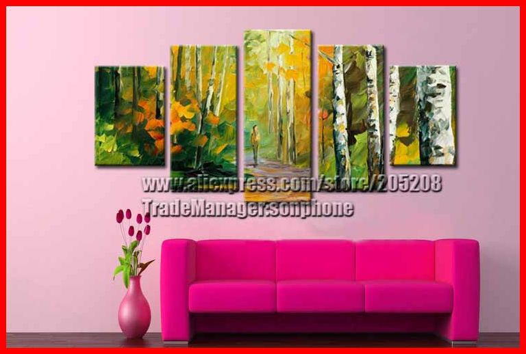 Framed 5 Panel Large Palette Knife Painting Wall Art Group Buying Canvas Picture Home Decoration Unique Gift XD00228(Hong Kong)