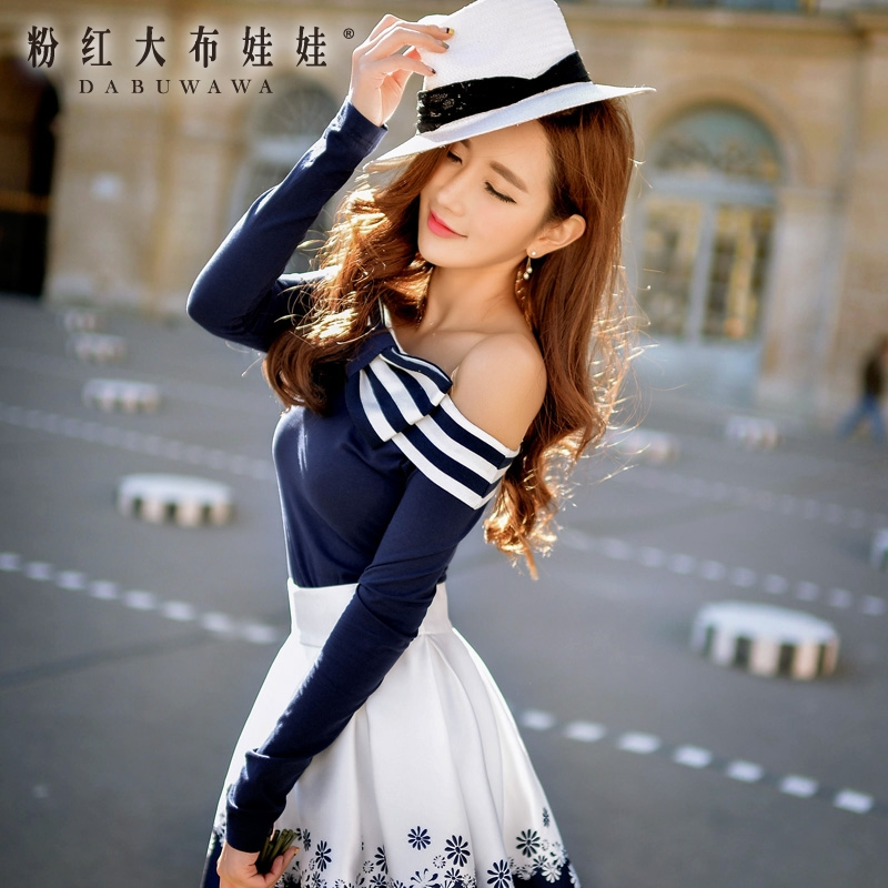 Long sleeved T-shirt Girl Pink Doll in the spring of 2016 women's new sexy bow collar jacket