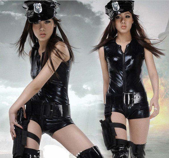 2016 New Fashion Europe Style Play Clothes Sexy Police Uniform Series Cool Leather Female Siamese Police Temptation Costume