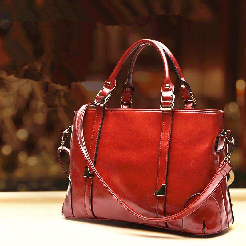 New 2015 Women Handbag Top Quality Oil Wax leather shoulder Bag Women Famous Brands Handbags Casual Women's Messenger Bags(China (Mainland))