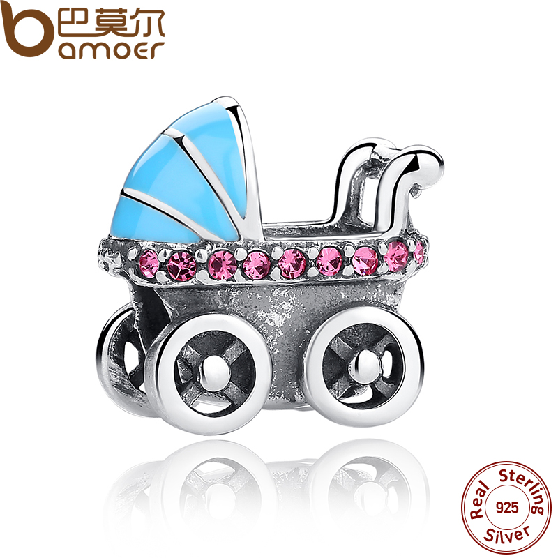 BAMOER New Spring Collection 925 Sterling Silver Baby Stroller Blue Car Charms fit Bracelets Necklace DIY Accessories SCC010(China (Mainland))