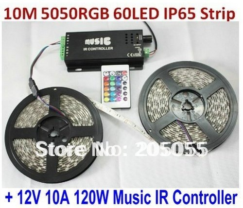 10M 5050SMD RGB Flexible LED Strip Light 60Led/M 2 x 5M Waterproof+Music IR Controller Sound activated +Power Supply transformer