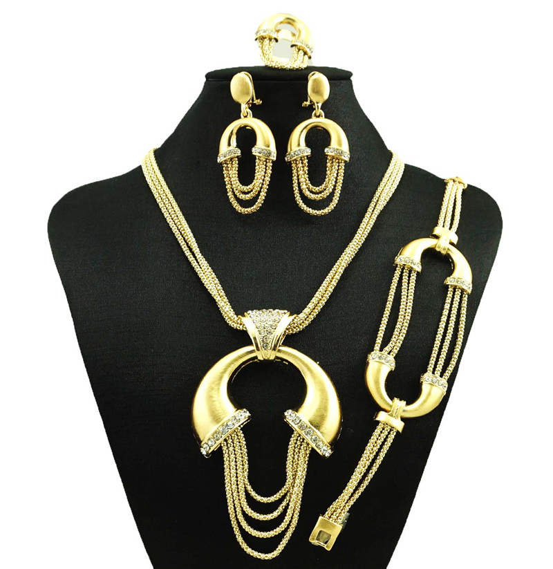 indian jewelry dubai gold plated jewelry women fashion necklace fine jewelry sets 18k gold jewelry sets(China (Mainland))