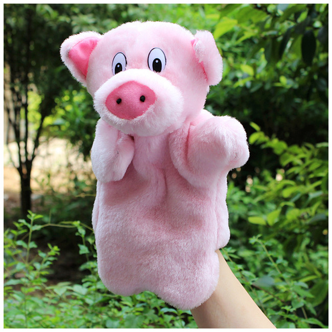 large plush hand puppets for kids stuffed Marionette dolls model soft animal pig hand puppets Parent-child early education toys(China (Mainland))