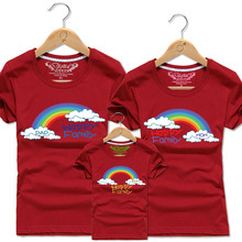 Dad Mom and Baby Kids Matching T-Shirt Cloud Rainbow Family Vacation T Shirts Men Women Tops Clothes Boys Girl Cotton Tee Shirt