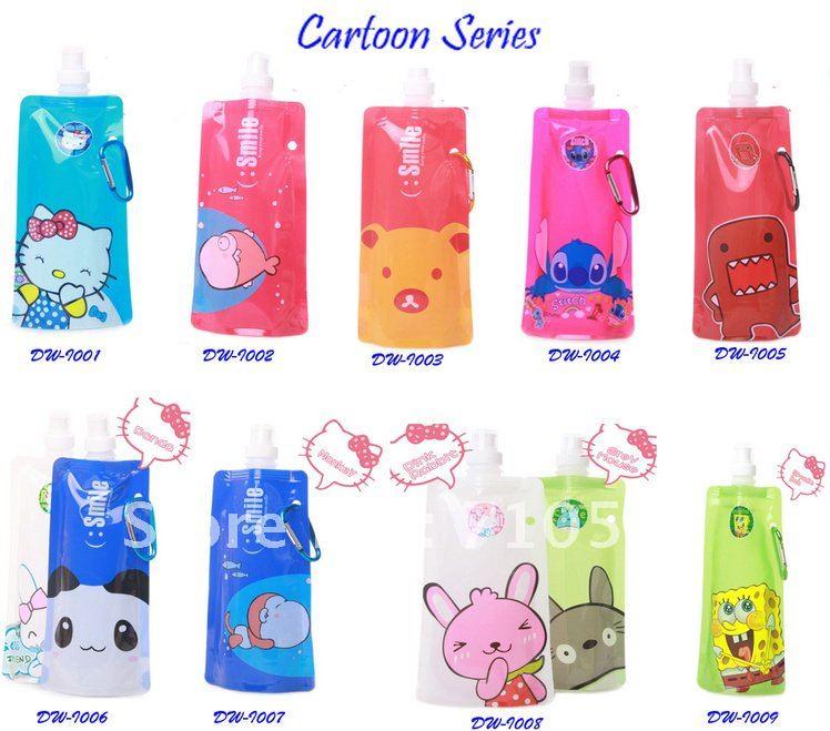 EMS free shipping 300pcs/lot the newly designed plastic foldable water bottle BPA free (480ml)(China (Mainland))