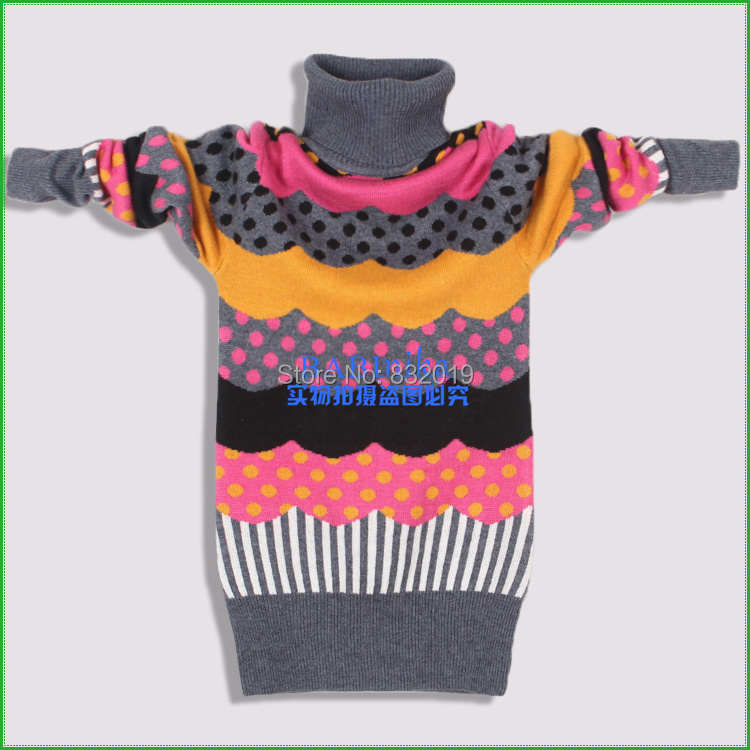 new 2014 autumn and winter cotton and wool t-shirt girls sweater children clothing kids clothes children sweater baby sweater