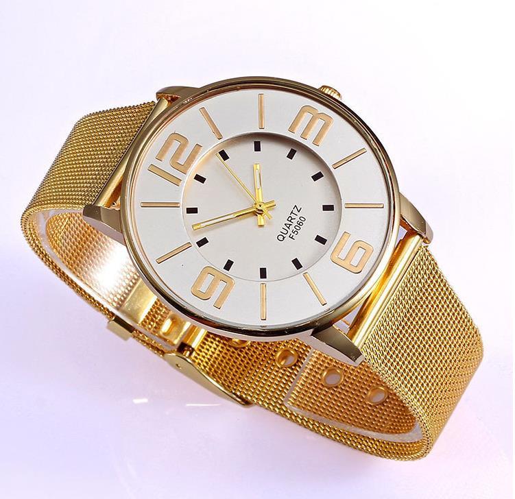 Fashion 2015 geneva Watch Women Classic Gold Quartz Watch Stainless Steel Full Steel Wrist Watch
