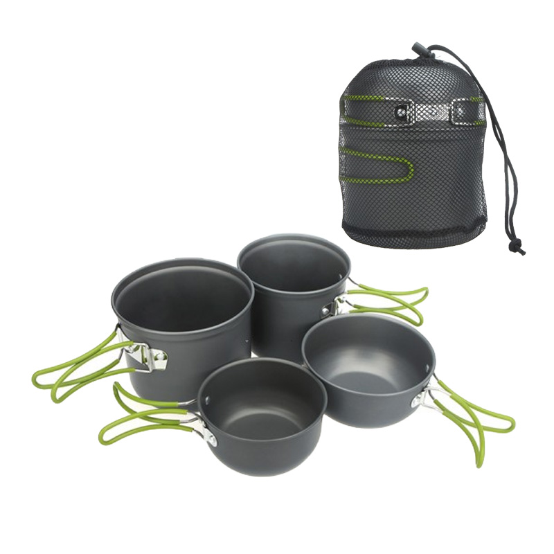 2-3 People Portable Outdoor Cooking Set Anodised Aluminum Non-stick Camping Hiking Cookware Picnic Bowl Pot Utensils Set(China (Mainland))