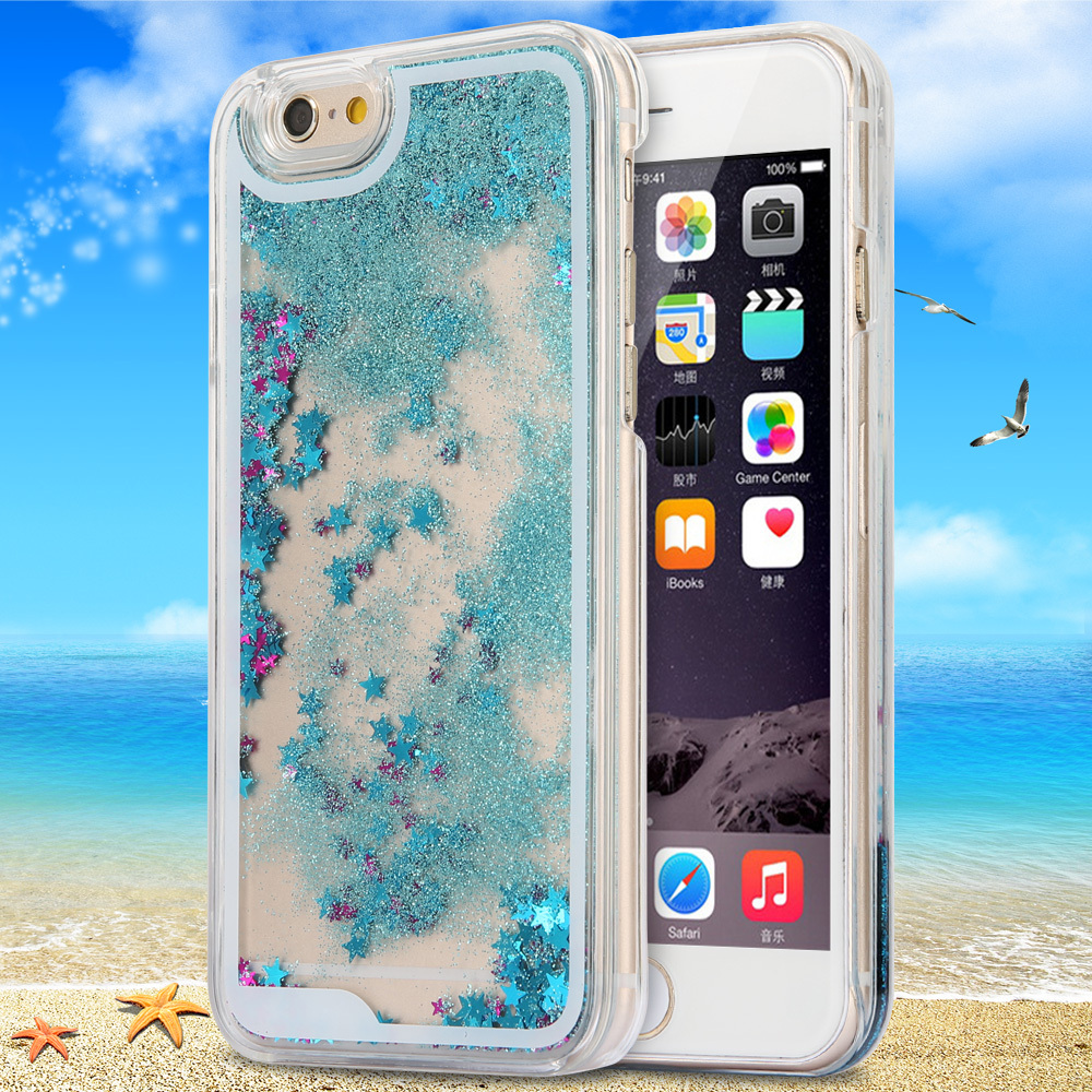 Hot Dynamic Liquid Glitter Sand Quicksand Star Case For iphone 6 4.7'' 6 Plus 5.5'' Crystal Clear phone Back Cover For i6 Shell(China (Mainland))