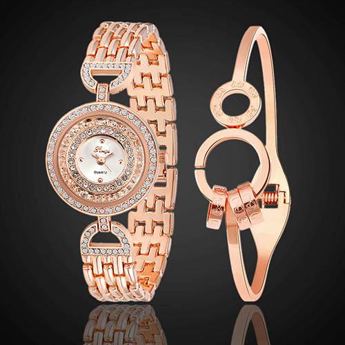 Fashion Jewelry Czech Stones Slim Band Quartz Wrist Watch + Round Ring Bracelet(China (Mainland))
