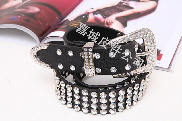 Fashion black rhinestone Women women's belt full rhinestone diamond crystal with diamond strap
