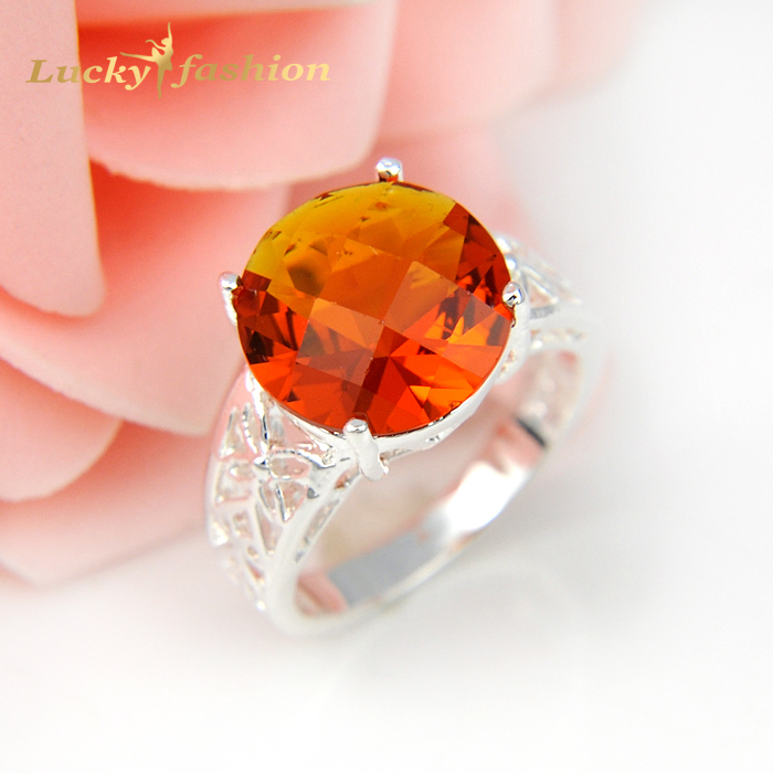 2 Pieces 1 Lot Oval Crystal Fire Round Brazil Citrine 925 Sterling Silver Wedding Jewelry Rings Russia Rings Australia Rings(China (Mainland))