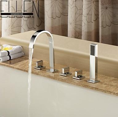Гаджет  Square faucet 5 piece faucet bath Set  Bathroom Mixer Deck Mounted Brass Tap None Дом и Сад