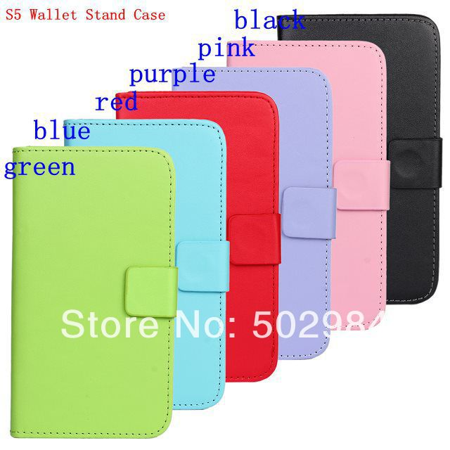 Flip Wallet Stand Leather Case for Samsung Galaxy S5 SV i9600 Skin Back Cover Holster with ID Credit Card Slot Holder DHL Free
