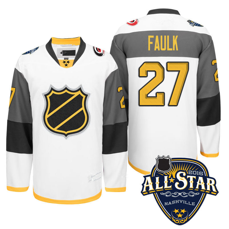 Newest! Mens Stitched  White #27 Justin Faulk Ice Hockey 2016 All Star Jersey Size M-XXXL with Carolina Hurricanes patch