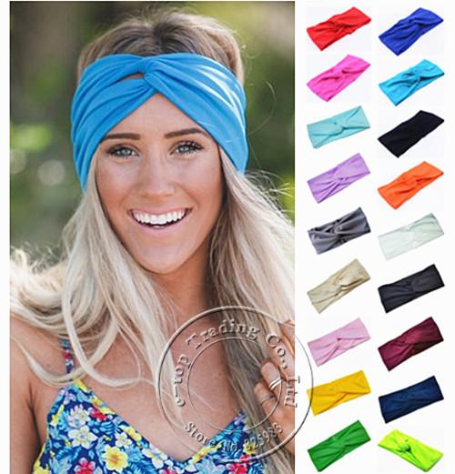 Hot Sales New 19 Colors Solid Twist Sport Fashion Yoga Stretch Headband Women Turban Bandana Head wrap Hair Accessories A0406(China (Mainland))