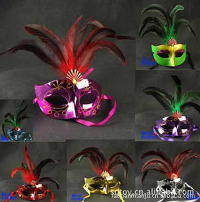Wholesale feather mask gem mardi gras costume accessory plume glitter Free Shipping(China (Mainland))