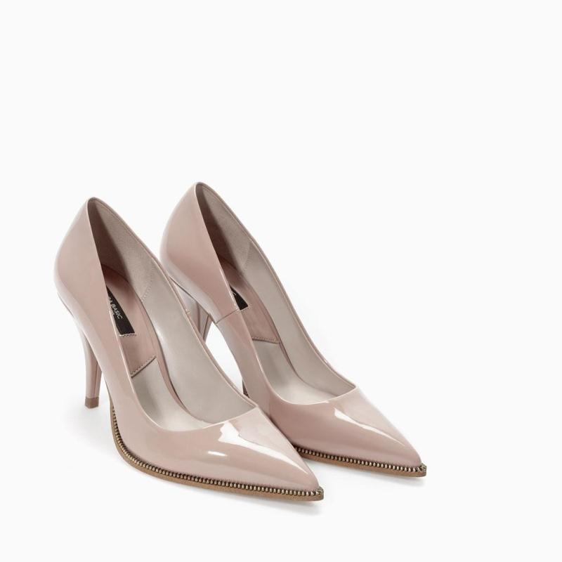 SS new chic elegant sexy metal zipper chain shallow point toes thin high heels shoes nude black pumps ladies women fashion shoes
