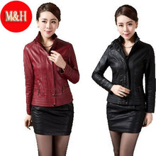 L-5XL New 2015 Women Spring PU Leather Coat Female Short Motorcycle Design Slim Outerwear Leather Jacket Women Red/Black(China (Mainland))