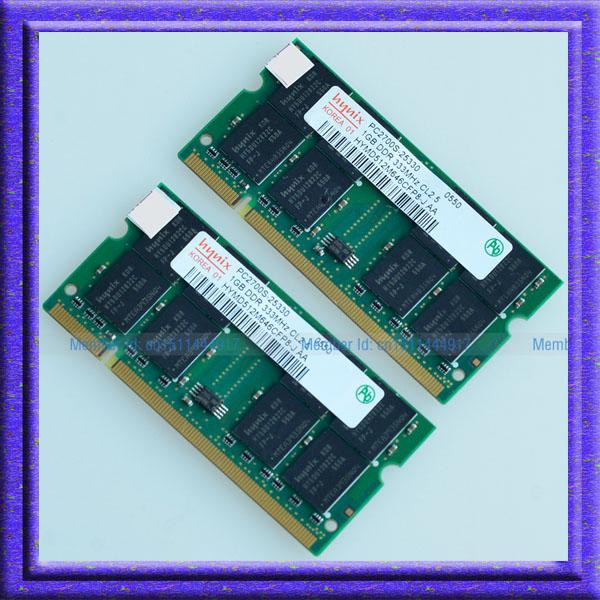 Hynix KIT 2GB 2x1GB DDR PC2700 333MHz 200pin Laptop Memory For Dell Inspiron 1150 1200 2200 2650 / IBM Thinkpad T40 T41 T42(China (Mainland))