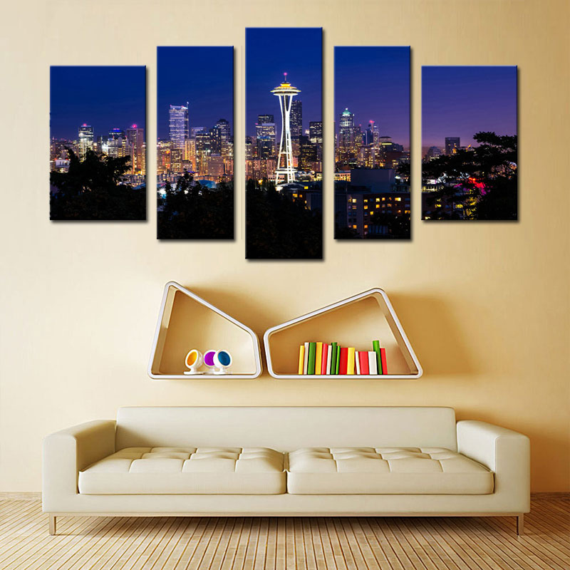 5 Picture Combination Seattle Night City Canvas Print Seattle City Panorama City View Art Print Black and White Seattle Canvas(China (Mainland))