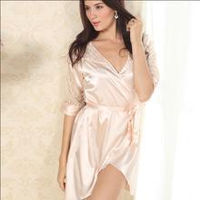 New Nightwear Women Luxury Lace Deep V  Winter Faux Silk Satin Sleepwear Robes Pajamas Nightgowns (China (Mainland))
