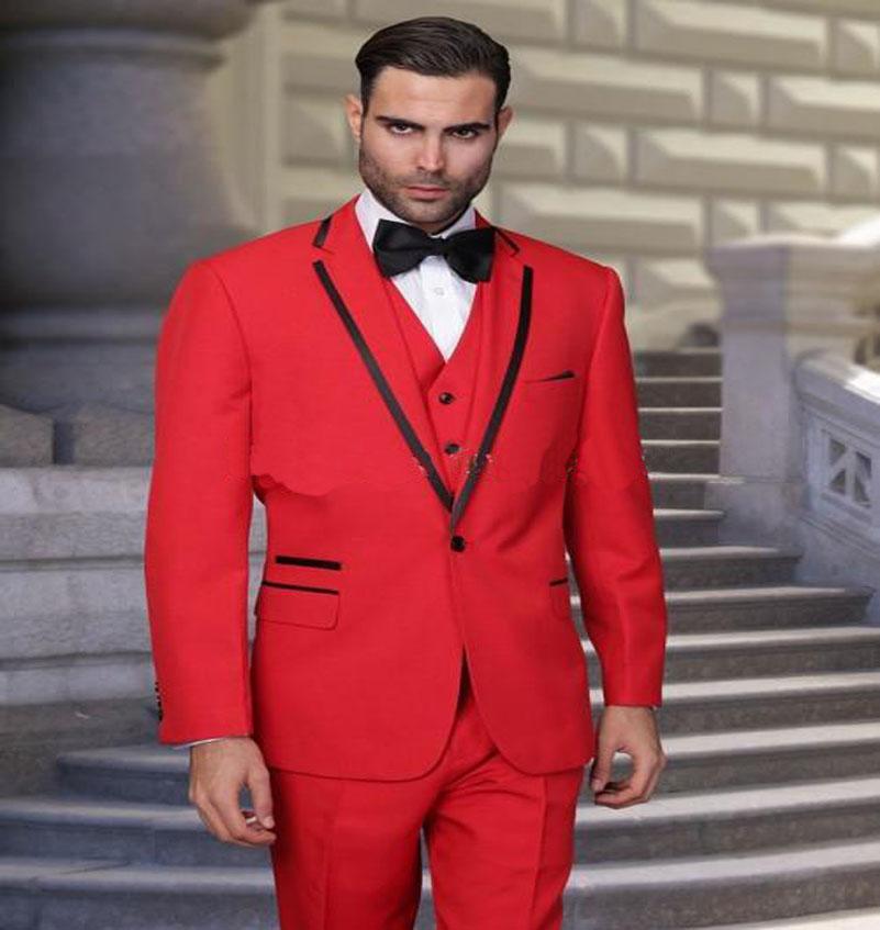 2016 Custom Made Handsome Red Groom Tuxedos Notched  Lapel Best Man Groomsman Men Wedding Suits  (Jacket+Pants+Vest