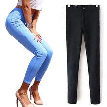 Jeans Stretch Para As Mulheres Elastic Outono Calça Jeans Mulher Calças Justas De Cintura Alta das calças de Brim das Mulheres Plus Size Mulheres Femme Preto das Calças