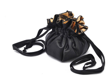 Women Bag Cosmetic Black Satin Ruffles Lining Inside Rope Bundle Stripes Make-up Collect Bag Jewelry Bags(China (Mainland))