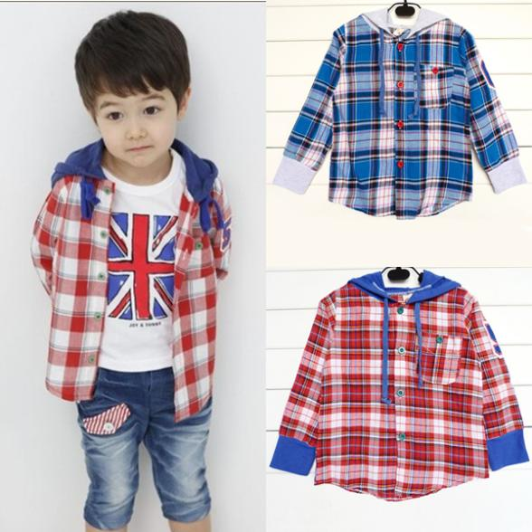 Toddler Kids Boys font b Plaid b font Shirts Jacket Hooded Long Sleeve Cotton Coat Tops